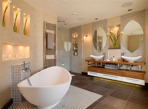 free standing bath tubs Bathroom Contemporary with Alcoves