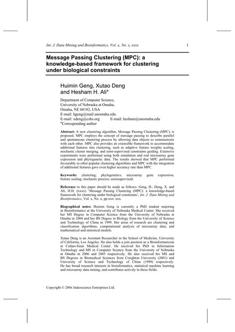 (PDF) Message Passing Clustering (MPC): a knowledge-based