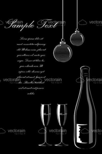 Vector Card with Wine, Baubles and Sample Text