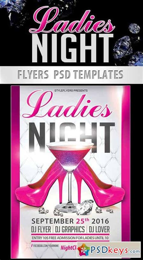 ladies night party flyer psd template facebook cover