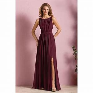 burgundy bridesmaid dresses scoop sleeveless side split With burgundy wedding dresses plus size