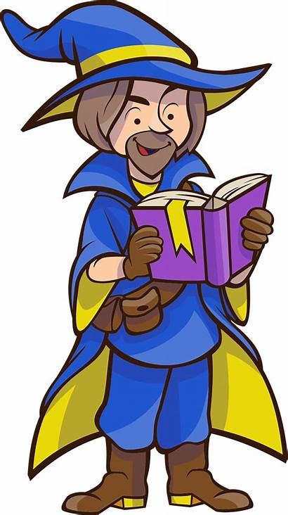 Wizard Clipart Clip Reading Domain Library Spell