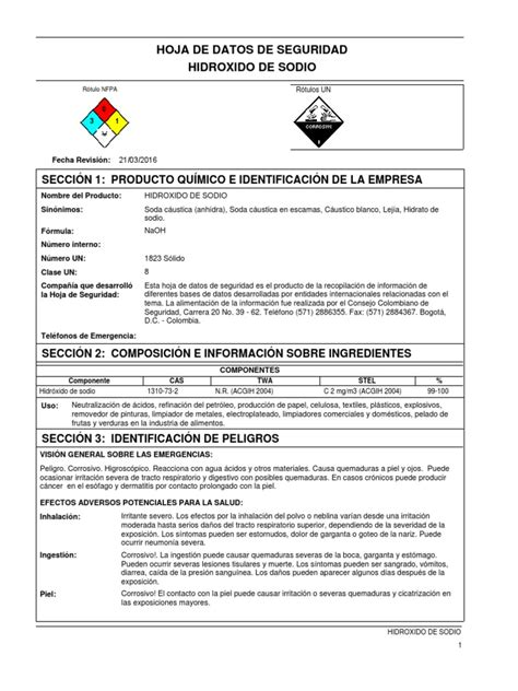 MSDS Soda Caustica Escamas