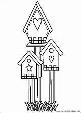 Coloring Bird Pages Birdhouse Houses Primitive Crafts Patterns Drawing Embroidery Designs Birdhouses Applique Printable Country Colouring Birds Adult Hand Stitchery sketch template