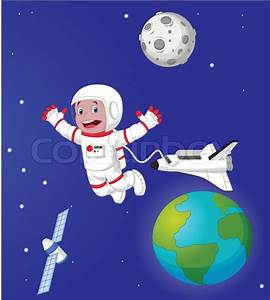 Vector Illustration Of The Astronaut Cartoon In Outer
