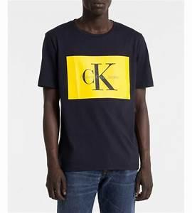 Tee Shirt Jaune Homme : t shirt homme calvin klein jeans bleu marine jaune ~ Melissatoandfro.com Idées de Décoration