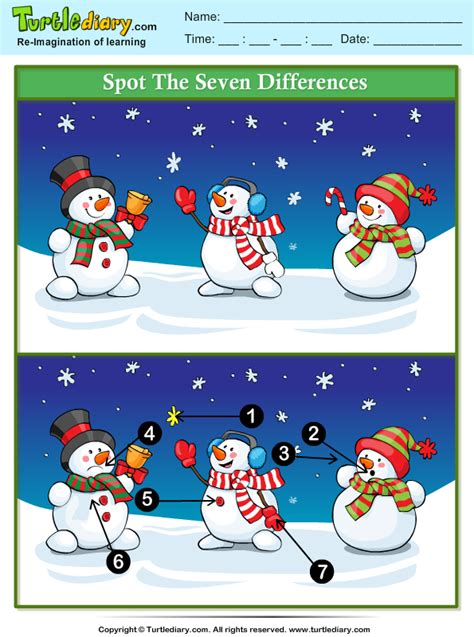 spot  difference snowman  bell worksheet turtle diary