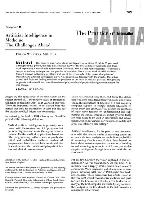 (PDF) Artificial Intelligence in Medicine: The Challenges