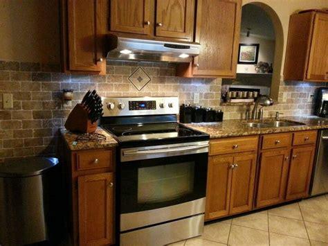 dads new kitchen re do travertine backsplash w