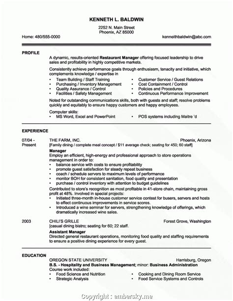 Restaurant Manager Objective Resume by Free Skills For Restaurant Manager Resume Restaurant