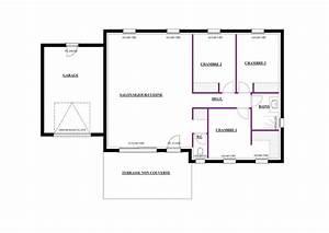 plan maison plain pied 80m2 2 chambres ideo energie With plan maison plain pied 80m2