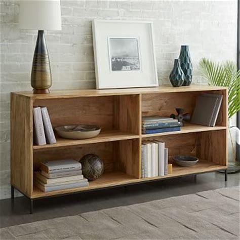 Low Wide Bookshelf by Industrial Modular Bookcase West Elm