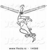 Down Cartoon Upside Rope Coloring Unbalanced Stuck Walker Outline Tight Vector Circus Royalty Designs sketch template