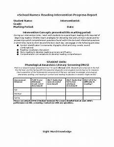reading resource intervention progress report template tpt With intervention report template