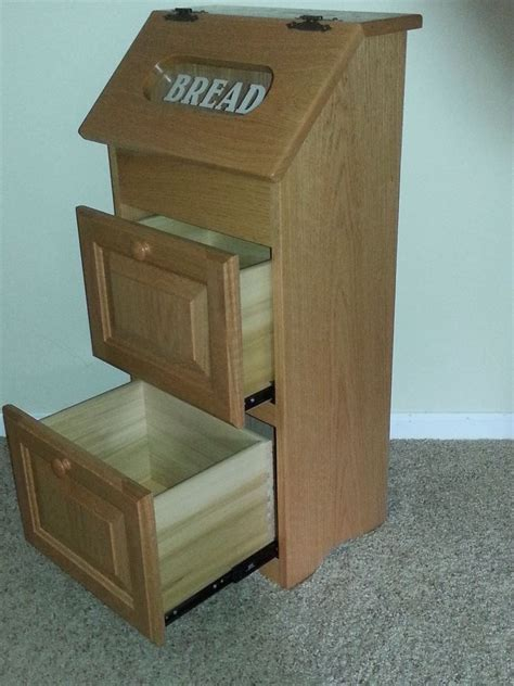 solid wood potato onion bin  bread box  drawers