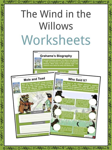 wind   willows facts worksheets  kids