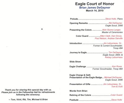 eagle scout court of honor program template brian degayner eagle court of honor program troop 494
