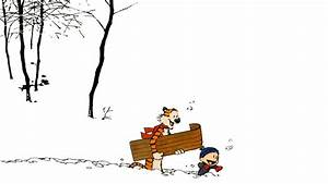 Calvin And Hobbes Cartoons Happy Sleds Snow Winter