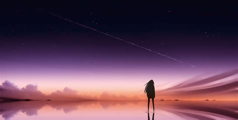 Pink Anime Wallpaper - anime pink sky standing alone hd anime 4k wallpapers