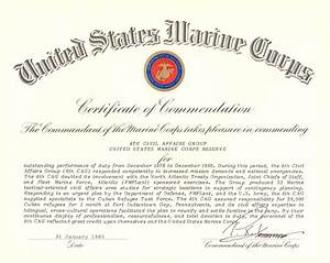 Filecommandant of the marine corps certificate of for Usmc certificate of commendation template
