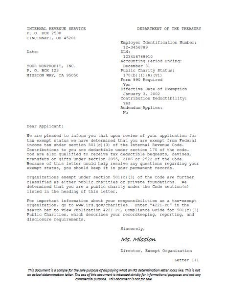 letter of determination irs irs determination letter harbor compliance 10658
