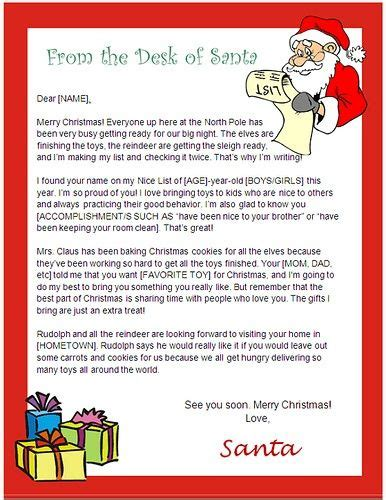 letter  santa template word usable ms word