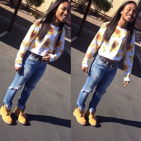 Babe jeans black girls killin it timberlands timbs and crop top sunflower cropped sweater ...