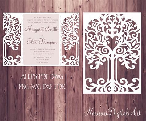 love tree wedding invitation laser cut pattern card template