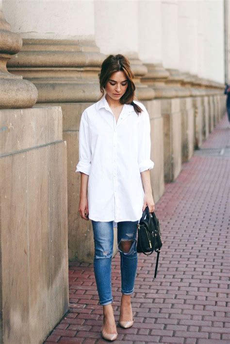 25+ best ideas about White shirt outfits on Pinterest | Grey shirt outfits Grey denim shirt and ...