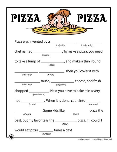 Summer Mad Libs Pizza Pizza Funny Mad Libs  Classroom Jr  Worksheets  Pinterest  Pizza, Nu