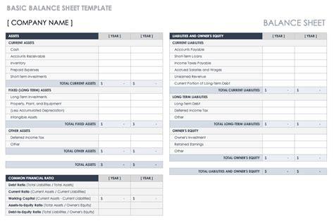 balance sheet templates  printable word excel