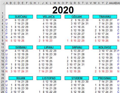 kalendar excelu
