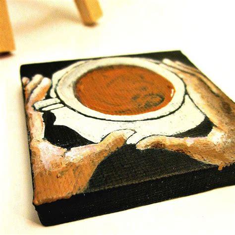 mini painting miniature original acrylic coffee cup