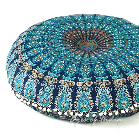 bohemian square floor pillows 32 quot blue mandala floor pillow cushion seating throw cover