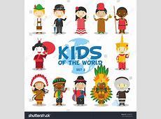 Kids World Vector Illustration Nationalities Set Stock