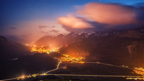 amazing birds eye view  switzerland  night wallpaper