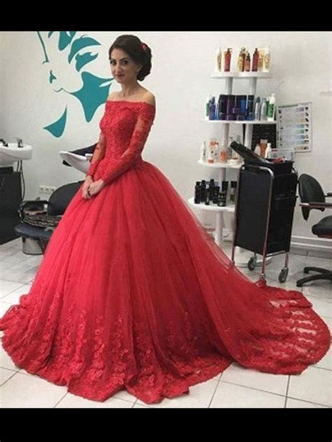 ball gown   shoulder long sleeves lace tulle court