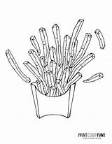 Fries French Coloring Fry Kawaii Happy sketch template
