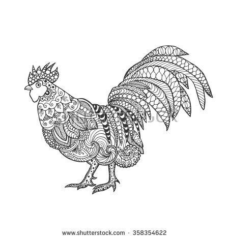 rooster birds black white hand drawn doodle ethnic patterned vector illustration african