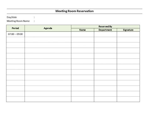 meeting room reservation sheet   meeting