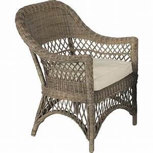 Chaise Rotin Gris : fauteuil polo en rotin gris avec coussin 72x72x96cm ~ Teatrodelosmanantiales.com Idées de Décoration