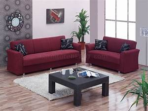 Ohio Sofa Bed In Burgundy Fabric By Empire WOptional Loveseat