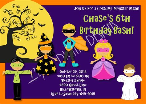 printable halloween birthday party invitations festival