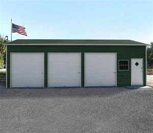 three car steel garage metal building kit with doors With cheap shop building kits