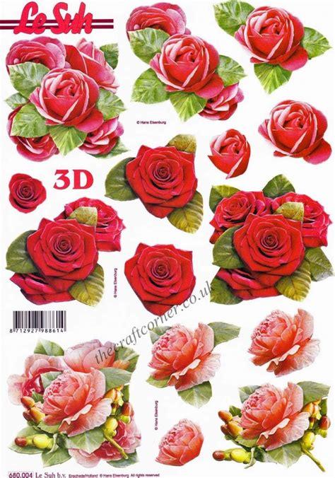 red roses die cut  decoupage sheet  le suh