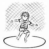 Trampoline Coloring Jumping Riccio Child Curly Springt Gelocktes Kind Eine Das Clipart Illustrations Vectors Bambino Illustrazioni Trampolino Salta Che sketch template