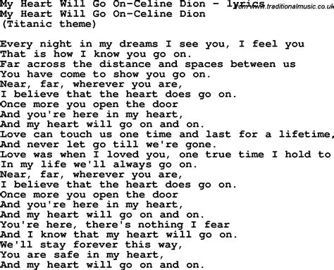 dion titanic testo song lyrics for my will go on dion
