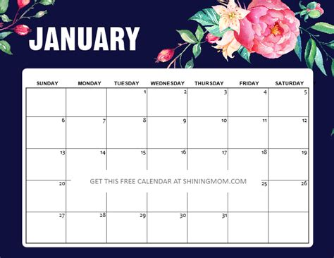 printable january  calendar  awesome designs
