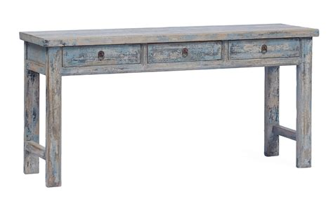 Light blue console table with drawers hand painted   Altar & Console Tables