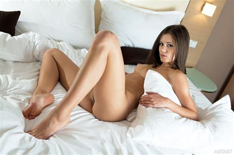 Little Caprice in sexy lingerie stripping and posing naked on bed - My Pornstar Book